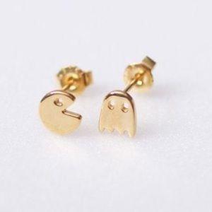 Goldtone Pac-Man and Monster Stud Earrings
